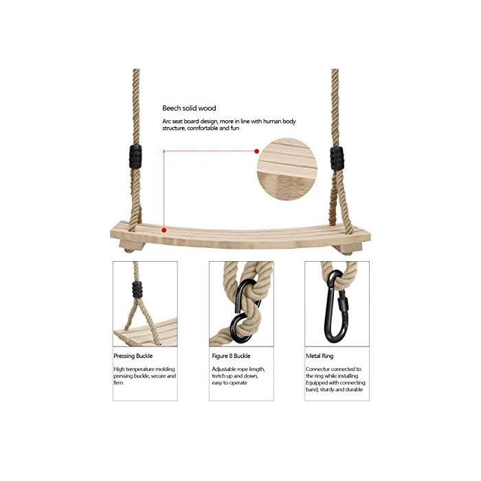 515aqcQiPML ★ Mayor calidad, más duradero: el material de madera natural le brinda seguridad y comodidad, se procesa y se moldea para secarse, aumenta la resistencia a la corrosión y no es fácil de expandir y deformar. El columpio tiene una cierta función impermeable para reducir la entrada de lluvia. ♥ Por favor, trate de reducir el uso en días de lluvia. Peso máximo de carga: 100kg. Tamaño del asiento: 45x20x1.6cm / 17.7x7.9x0.6 pulgadas. Silla de columpio grande para niños y adultos. ★ Cuerdas ajustables para mayor comodidad: grosor de la cuerda: 11.5-12mm, 120cm - 180cm La cuerda ajustable de cáñamo es básicamente adecuada para todas las pendientes externas. La cerradura está hecha de hierro sólido y tiene una capacidad de carga de 100 kg. Como a menudo se usa, es necesario verificar que el candado no tenga grietas antes de usarlo para evitar que se rompa. ★ Diseñado para la seguridad: el ala de madera PELLOR diseñada con un asiento acanalado antideslizante y lados elevados para garantizar la seguridad de los niños. El diseño cualitativo de la plantilla curva reduce el giro hacia la izquierda y hacia la derecha, de modo que el centro de gravedad se concentra en el centro del tablero. Los anillos y accesorios de metal galvanizado también se pueden colgar de la rama de un árbol o de una viga. Trate de mantener el columpio de madera seco.