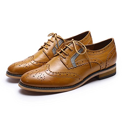Pictures of Mona Flying Women's Leather Perforated Lace-up Oxfords Shoes for Women Wingtip Multicolor Brougue Shoes 1