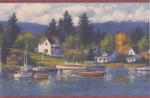 (Bordo Lake Houses Forest Wallpaper Border )