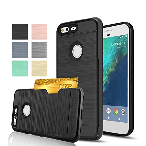 Google Pixel Case,Anoke [Credit Card Slots Holder][Not Wallet]Hard Plastic PC TPU Soft Hybrid Shockproof Heavy Duty Protective Cover Case For Google Pixel KC2 Black