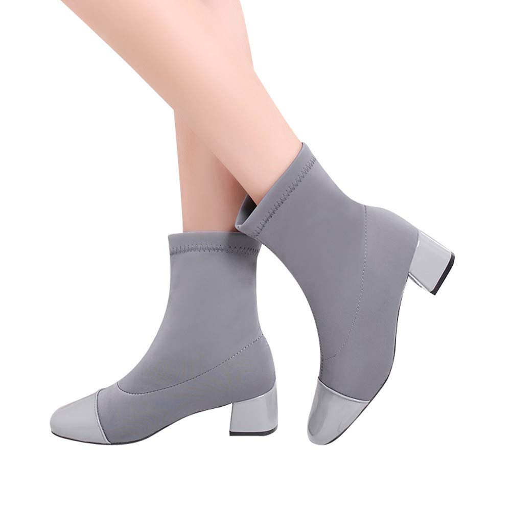 Gyoume Stretch Boots,Women Flat Wedges Boots Shoes Slip-On Shoes Round Toe Boots Shoes