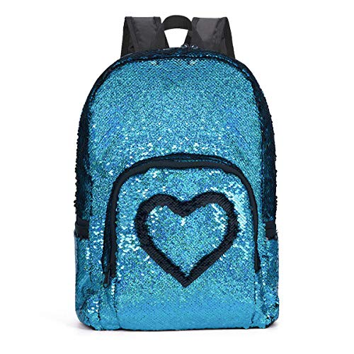 SIWA MARY Reversible Sequins School Backpack for Girls Students Magic Glitter Mermaid Lightweight Travel Backpack -