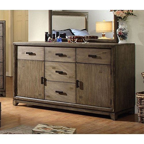 Furniture of America Muttex 5 Drawer Dresser in Natural Ash
