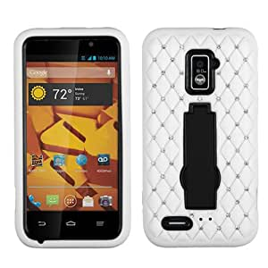 ASMYNA Black/White Symbiosis Stand Protector Cover (with Diamonds) for ZTE N9510 (Warp 4G)