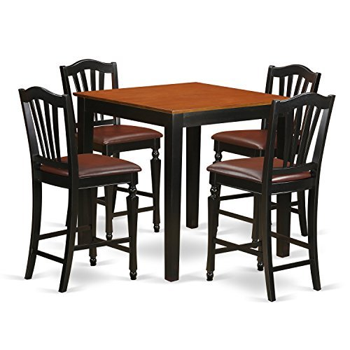 East West Furniture PBCH5-BLK-LC Kitchen Set Black and Cherry