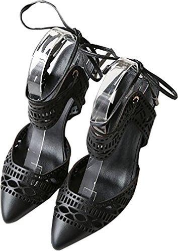 Calaier Kvinder Catxaf 7cm Stilethæl Sandaler Selv Binde Sko Sort K4MrUBO710