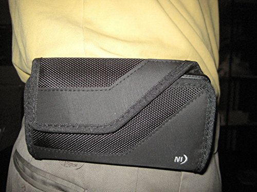 Nite Ize Black Sideways Horizontal Rugged Heavy Duty Extended Extra XX-large Holster Pouch W/Durable Fixed Belt Clip Fits Microsoft Lumia 650 hybrid Protector