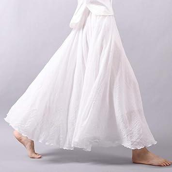 HEHEAB Falda,Las Mujeres Blancas Sábanas De Algodón Cintura ...