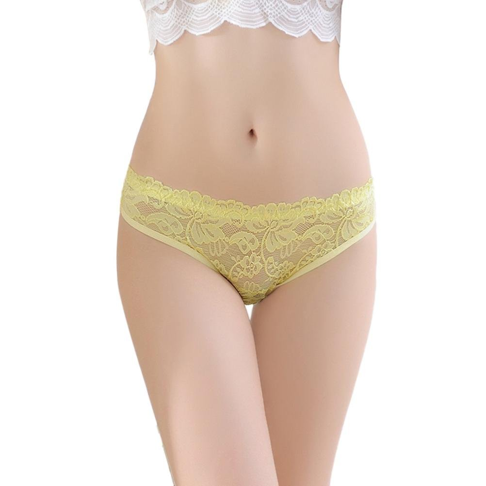 Elogoog Hot Sale 2018 Sexy Lace Underwear for Women Seamless Soft Low Waist Panties Cotton Breathable Briefs (Yellow, One Size)
