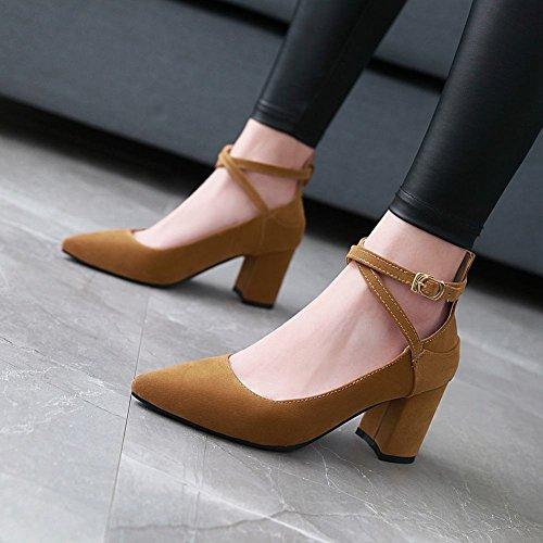 Mee Shoes Damen Chunky Heels Spitz Schnalle Pumps Gelb