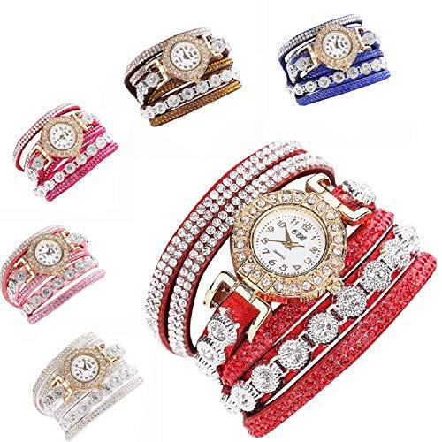AmyDong Women Fashion Casual Analog Quartz Women Rhinestone Watch Bracelet Watch Circle Bracelet Watch Watch (White)