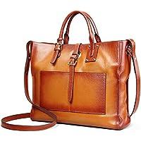 AINIMOER Women's Genuine Leather Tote Handle Bag Cross-body Handbag Top Handle Shoulder Bags