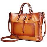 AINIMOER Women's Genuine Leather Tote Handle Bag Cross-body Handbag Top Handle Shoulder Bags(Sorrel-S)