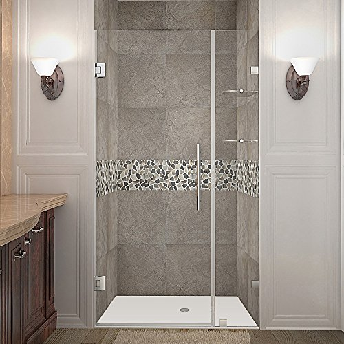 Aston Nautis GS 40 x 72 Completely Frameless Hinged Shower Door with Glass Shelves, Brushed Stainless Steel