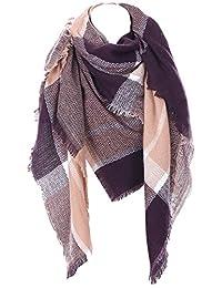 Cozy Checked Plaid Blanket Scarf - Tartan Stylish Cape Wrap Shawl for Women