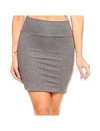 Fashionazzle Women's Basic Pintucked Mini Pencil Skirt Stretch Fabric