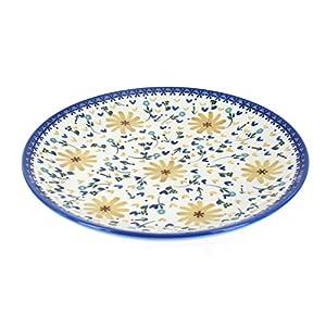 Blue Rose Polish Pottery Yellow Daisy Dinner Plate