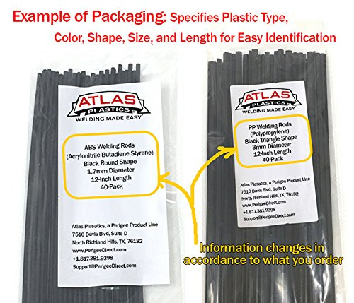 20-Pack of 12-Inch, 1//8in or 3mm dia ABS Plastic Welding Rods,Repair Rods-Black-20 feet