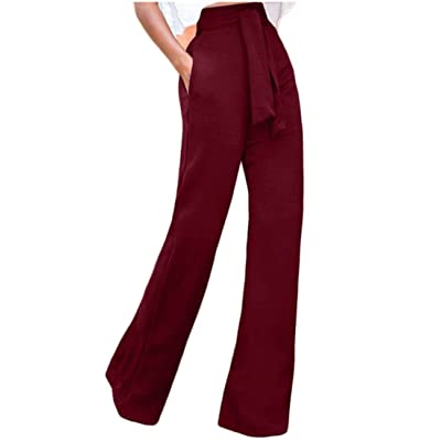 ainr Women High Waist Straight Leg High Waisted Long Pants With Belt