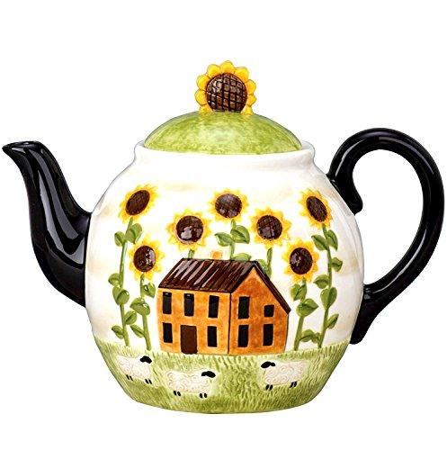 Ceramic Collection Summer Farm Ceramic Teapot, 52oz