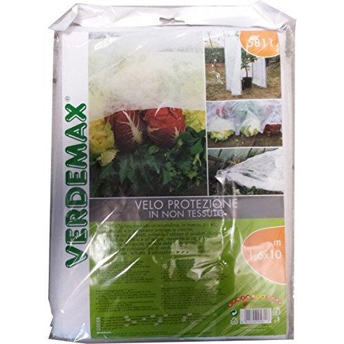 Verdemax 581117g/mq 1,6x 10m tessuto non tessuto protettivo Rotolo di rete, colore: bianco