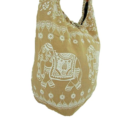 Thai Sling Medium Bag Nude Elephant Women Hobo Crossbody Handbag Gypsy for Hippie Boho Shoulder rEx7SqwEX
