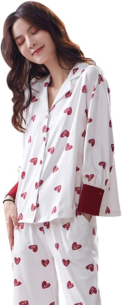 Camisones Pijamas Pijamas de algodón para Mujer con Solapa de ...