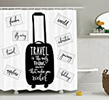 Ambesonne Quotes Decor Collection, Travel Inspiration Lettering 'Travel Only Thing You Can Buy That Makes You Richer' Image, Polyester Fabric Bathroom Shower Curtain, 84 Inches Extra Long, Black White