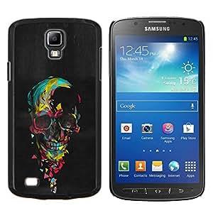 """Be-Star Único Patrón Plástico Duro Fundas Cover Cubre Hard Case Cover Para Samsung i9295 Galaxy S4 Active / i537 (NOT S4) ( Acuarela del cráneo de la pintura al óleo Negro"""" )"""