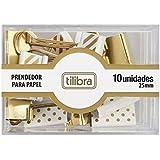 Prendedor de Papel 25mm Dourado, Listras e Bolinhas 10 Unidades, Tilibra, 2019, Sem Cor, pacote de 6