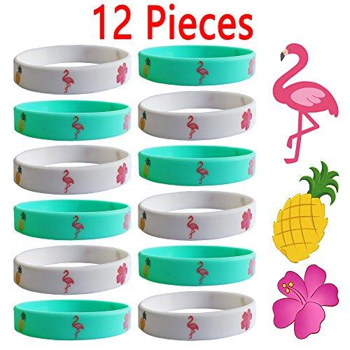 12 PCS Flamingo Pineapple Silicone Wristband Bracelets - Flamingo Party Supplies - Hawaiian Luau Party Supplies Party Favors