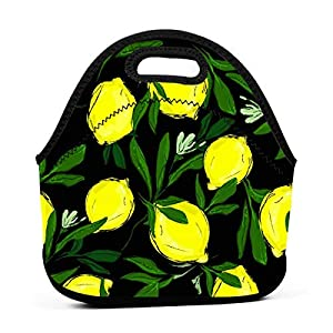 Limone portatile in neoprene con foglie Borsa da pranzo nera con cerniera con cerniera per ufficio scuola e scatola da… 11 spesavip