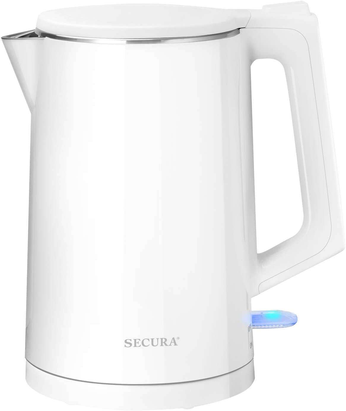 Secura SWK-1511 The Original Stainless Steel Double Wall Electric Water Kettle 1.6 Quart (White)