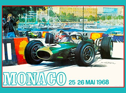 A SLICE IN TIME 1968 Monaco Grand Prix Automobile Race Car Travel Advertisement Vintage Poster