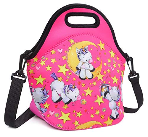 Debbieicy Cute Unicorn Lunch Bag with Adjustable Strap Tote Bag Shoulder Bags for Preschool, Kindergarten, Elementary Girls(Rose Lunch Bag)