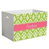 Personalized Damask Green with Salmon Childrens Nursery White Open Toy Box