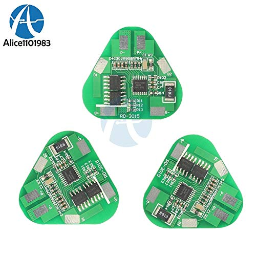 Fevas 3S 4A Li-ion Li-Po Cylindrical Prismatic Lithium Polymer Battery 3 Cell PCB Module Board Short Circuit Overcharge Protection BMS ()