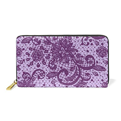 LALATOP Women Genuine leather long zipper wallet Purple Lace Texture Hand Purse