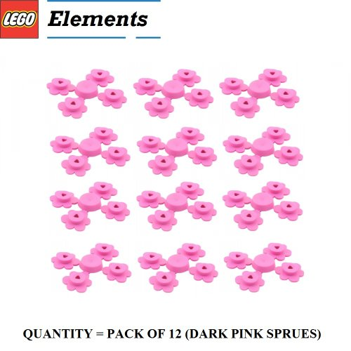 Lego Parts: Plant Flower Small, Sprue of Four (PACK of 12 Dark Pink Flower Sprues)