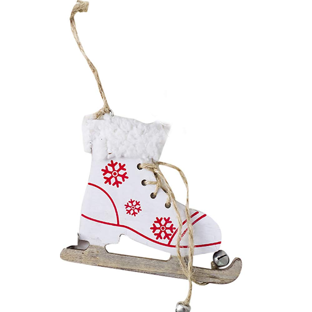 Christmas Tree Decorations, Jchen(TM) Happy Year Christmas Decor Snowflake Pattern Wooden Sleds Boots Christmas Xmas Tree Hanging Pendant (White)