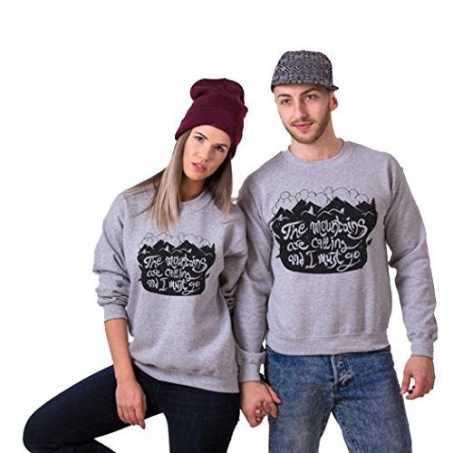Anboo Couple Spouse Matching Sweatshirt Letter Printed Long Sleeve Pullover Tops Shirts Blouse (L, Man)