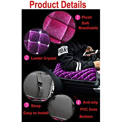 U&M Bling Bling Auto Armrest Console Cushion, Soft Plush Luster Crystal Arm Rest Padding Protective Case Diamond Car Decor Accessories for Women (Pink-Plush): Automotive