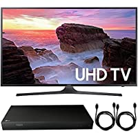 Samsung UN65MU6300FXZA 65 4K HDR Ultra HD Smart LED TV (2017 Model) + 4K Ultra-HD Blu-Ray Player w/ 3D Capability + 2x 6ft High Speed HDMI Cable