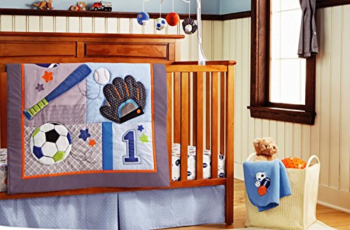 Baby boy 8 Pieces Baby Boy Sport Crib Bedding Set with changing pad cover(without bumper pad)