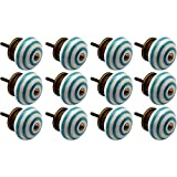 Nicola Spring Ceramic Cupboard Drawer Knobs - Stripe Design - Turquoise - Pack Of 12