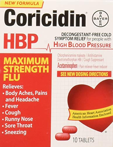Coricidin Hbp Maximum Strength Flu, 10 Count (Best Decongestant For High Blood Pressure)