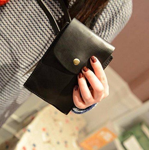 KPHY-Hecho A Mano Mini Crossbody Bag Retro Mobile Phone Bag Shoulder Bag SmallColor Cafe black