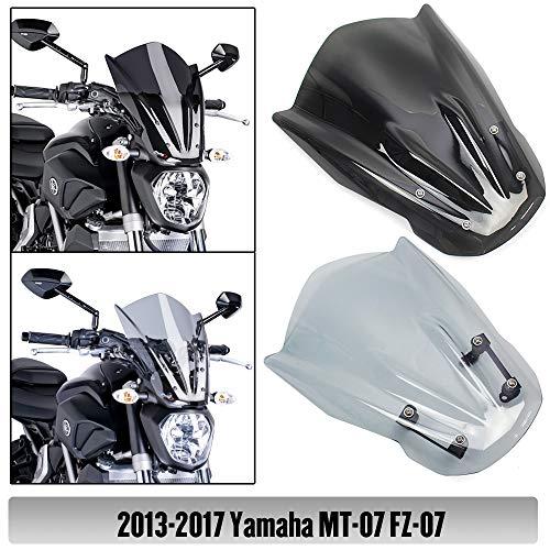 FZ07 MT07 Motorcycle Accessories ABS Windshield Windscreen Wind Deflector Fly Screen Cover w/Mounting Bracket for 2013 2014 2015 2016 2017 Yamaha FZ MT 07 MT-07 FZ-07 (Light Smoke)