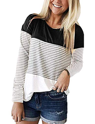 - INWECH Women's Loose Back Lace Striped Tops Tee Shirts Black Long Sleeve Color Block T-Shirt Blouses (Black 2, Large)