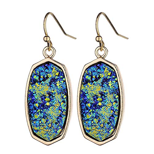 Unique Dangle Druzy Earrings with Glitter Gold Tone, Drop Earring Hooks Jewelry Birthday Gifts by Formissky